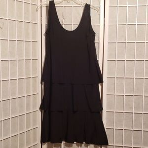 FASHION BUG  3-TIER BLK SLEEVELESS DRESS Sz L